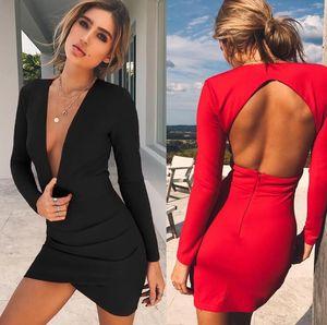 Vestido de mujer Deep V Solid Mini Sexy Backless Vestido de verano Vestidos de manga larga Vestido de fiesta nocturno en el club nocturno