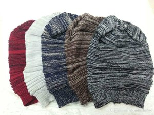 2016 neue Ankunft Hüte Mädchen Mode Damen Unisex Winter Knit Plicate Slouch Kappe Hut Gestrickte Schädel Mützen Casual Ski 5 Farben Freies Verschiffen