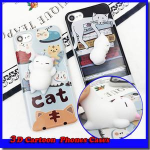 2017 Divertido 3D de Dibujos Animados Kitty Cat Teléfonos Casos Apretón de Silicona Alivio del Estrés Squishy Soft TPU Para iphone 6 6s 7 7 plus Cuna