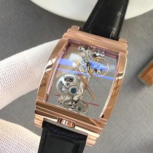 Corum Luxury WATCHES GOLDEN BRIDGE 투명 기계 316 스테인레스 스틸 케이스 정품 가죽 스트랩 Mens brand 겐트 손목 시계 AAA163