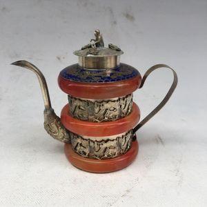 Tibet Shipping Vecchio lavoro a mano intagliato Phoenix da collezione argento giada Dragon Teapot Decor Oolpp