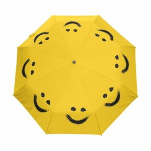New Fashion Fully Automatic Umbrella Women Umbrellas Outdoor Anti-UV Sun And Rain Paraguas Cute Smiling face Yellow Parasol