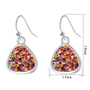 Mode 6 Farben druzy drusy Ohrringe versilbert Dreieck Geometrie Faux Stein Ohrringe für Frauen Schmuck