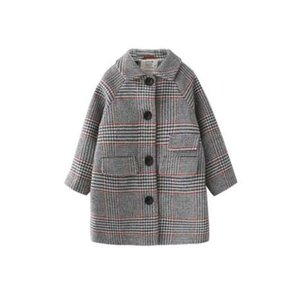Muchacha de los niños abrigo de invierno nueva moda Houndstooth abrigo de lana para niñas Adolescentes otoño chaqueta abrigos largos y cálidos Niños a prueba de viento
