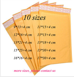 DingSheng 10 formati giallo autosigillante poly bubble impermeabile carta Kraft Trasporto imballaggio busta mailer Wrap bags Packaging Mail Pouch