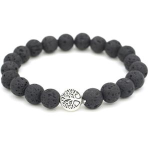 New Tree of life Charms 8mm Black Lava Stone Beaded Bracelet Essential Oil Diffuser Bracelet Volcanic Rock Hand Strings