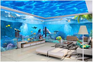 3D Wallpaper Seide benutzerdefinierte Foto Fantasy Unterwasserwelt Thema Pavilion Space Hintergrund 3d Wandbilder Tapete für Wände 3 d drucken Stoff