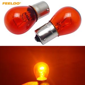 FEELDO 10pcs 1156 S25 12V21W BAU15S 자동차 투명 유리 램프 꼬리 전구 자동 표시기 할로겐 램프를 돌려 # 4297