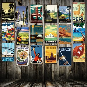[Mike86] VINTAGE TRAVEL Sinais de metal Países populares Cidades Retro Wall Art Painting Pôsteres FG-215