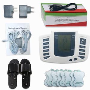 Estimulador elétrico Corpo Inteiro Relaxar Músculo Digital Massager Pulso DEZENAS de Acupuntura com Terapia Chinelo 16 Pcs Eletrodo Pads