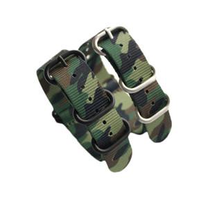 Bandas de camuflaje calidad de nylon correa de reloj con la OTAN inoxidable de 5 anillos de 18 mm 20 mm 22 mm 24 mm Envío gratuito