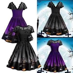 2018 Women's Fashion cosplay Sexy Vintage Lace Stitching Halloween Dress Elegant Short Sleeve Printed Pumpkin Party Dress Halloween Costume