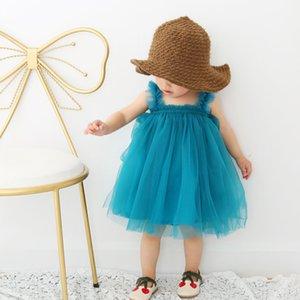Novo vestido 2018 INS hot estilos New summer girl crianças estilo simples bonito Sling gaze saia crianças elegante cor sólida gaze Agaric lace saia