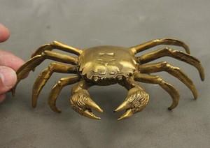 "6 ""chanceux Chinois Folk Pure Laiton Fengshui Richesse Crab Granchio Statue Sculpture"