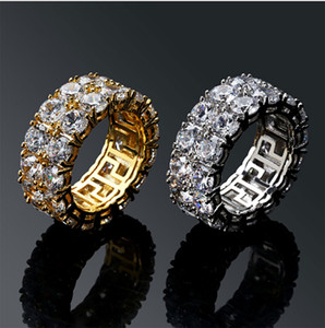 Mens 2 Row Iced Out 360 Eternity Bling Bling Anelli Micro Pave Cubic Zirconia Oro 18k Diamanti simulato Anello Hip Hop con confezione regalo