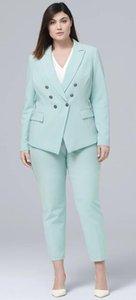 Casual 2 piezas de las mujeres de la menta pantalones traje de doble botonadura Blazer de manga larga de negocios Conjunto formal Ladies Party Outfit Plus Size W193
