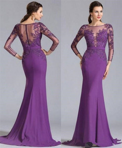 2018 Purple Mother Off the Bride Dresses Vintage Lace Long Sleeves Ruched Elegant Mother Formal Plus Size Prom Party Gowns