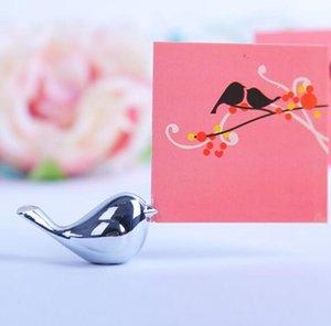 Love Birds Wedding Card Titolare della carta Nome argenteo Clip di carta in argento spazzolato