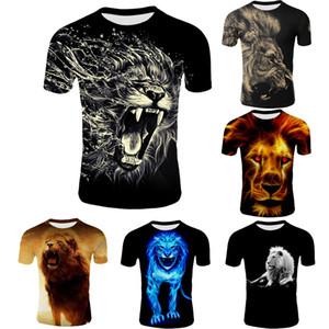 Nouveau à manches courtes T-shirt 2018 Summer Casual Lion 3D Digital Print T-shirt des hommes chauds de mode Slim T-shirt hawaïenne Taille S-4XL