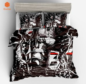 3pcs Pinted 3D Skull Motorcycle Duvet Cover Set Bedding set With Pillowcase for Adults Kids Twin Full Queen King Size sj208