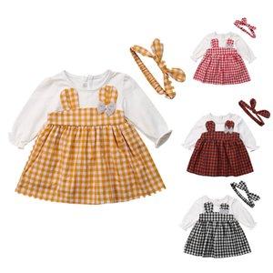 2018 Emmababy moda cute neonato ragazze dal O-Collo del fumetto coniglio bel vestito + fascia Plaid Abbigliamento Carino