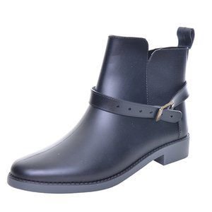 2018 Fashion Elastic Band Solid Women Rain Boot Waterproof Women Boots Rubber Low Heel Shoes DSA145