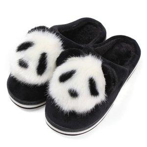 Inverno Interior Panda Peludo Chinelo Mulheres Plana Casa de Pelúcia Escorregar Chinelos de Natal Animal Quente Não-Deslizamento Sapatos Casa Scarpe Donna