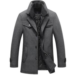 2018 Nuevos Hombres Abrigo de Lana de Invierno Chaquetas Slim Fit Para Hombre Casual de Algodón Grueso Ropa de Abrigo Cálido Abrigos Hombre Pea Coat Plus Tamaño M-5XL