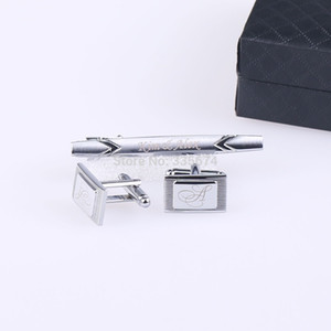 CT-005 новая мода персонализированные гравированные запонки и галстук клип наборы для мужчин с подарочной коробке