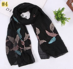 Envío libre 180 * 75 cms de viscosa de algodón bufanda de la moda del bordado pañuelos hijab Nueva mantones al por mayor venta al por menor
