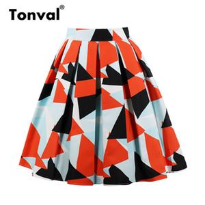 Tonval Vintage Femmes Des Motifs Géométriques Des Jupes Plissées Femmes Orange Imprimer Plus La Taille Midi Jupe Taille Haute Jupe D'été