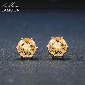 Lamoon 7mm 1.2ct Runde Natürliche Citrin 925 Sterling Silber Einfache Ohrstecker Schmuck S925 Für Frauen LMEI027 Y18110110