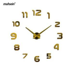 muhsein grande horloge murale bricolage acrylique miroir 3D horloge murale personnalisée numérique horloges murales circulaire livraison gratuite