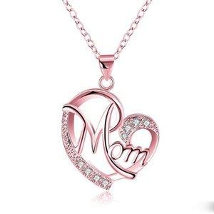 12 unids Love Mom Rhinestone Crystal Heart colgante, collar de día de la madre regalos para madre suéter collares de cadena mejores regalos