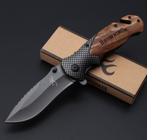grossista Browning Rope cutting device Coltello pieghevole salvavita Campeggio Caccia Survival Knife Chiusura Strumenti EDC Coltello regalo pieghevole per esterni