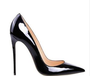 Bona fide 2018 Mode Frauen Schuhe schwarz Patent Schaffell Red Bottom High Heels dünne Fersen Pumpen Hochzeit Schuhe Kleid Schuhe mit Originalverpackung