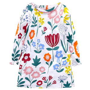 Kids Flowers Printed Princess Dress Long Sleeve Baby Girls Dress New Kids Tunic Jersey Dresses for Girls Clothes
