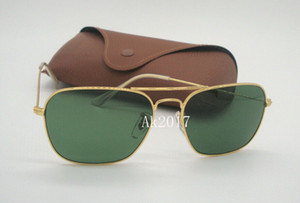 1 Paar Hohe Qualität Herren Woemsn Sport Rechteck Sonnenbrille Gold Metall Sonnenbrille Grün 58mm Glaslinsen Uv-schutz Kommen Mit Fall Box
