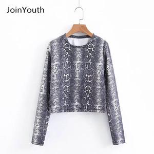 JoinYouth المرأة الأفعى طباعة بلايز السيدات الخريف سليم أزياء تي شيرت