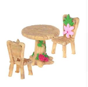 OOTDTY miniatura resina mesa y sillas Micro Garden Plant pots Bonsai impermeable decoración del arte para Garden House