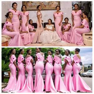 2021 Off плеча розовый русалка невеста платья длинного стройный Sash Maid Of Honor Платье Wear Wedding Guest партия Платья Формального
