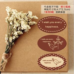 270 adet Kuş Mutluluk DIY Etiket Kağıt Etiket Mühür Kutusu Zarf Hediye Sarma Sabun Pişirme Düğün Noel Partisi Dekorasyon