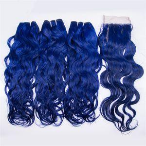 Мокрые и волнистые синие волосы с закрытием голубой воды волна волос бразильский девственница человеческих волос с кружева закрытия 4 шт./лот