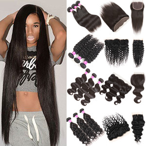 Brazilian Virgin Hair Straight Body Wave Natural Water Wave Bundles With Lace Frontal Closure Human Virgin Hair Extensions Weft