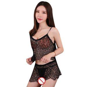 Trasporto libero Nuova biancheria sexy cosplay pigiama sexy della maglia garza di pizzo trasparente divisa sexy lingerie set segretaria estetica uniforme