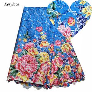 Синий белый швейное ремесло высокое качество Африканская кружевная ткань гипюр кружевные стили нигерийский шнур кружевная ткань вышивка одежда 5 ярдов KRL-117130
