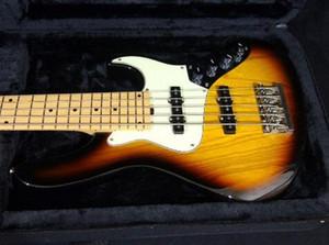 Usine de gros GYJB-5003 couleur 3TS plaque blanche Chrome matériel 5 cordes EMG pick-up Jazz Bass guitare électrique, shippinge gratuit