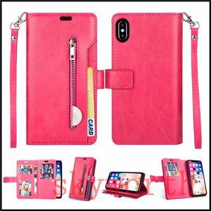 9 ranuras para tarjetas Casos carpeta del tirón del cuero para el iPhone 11 X XS XR Max Plus Samsung Galaxy Note 10 Plus Note9 magnética desmontable