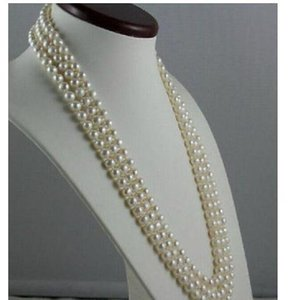 Gorgeous 7-8mm natural south seas white pearl necklace 48 inch 14k Gold clasp