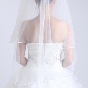 2018 бесплатная доставка свадебные фаты белый два слоя кружева течет свадебные аксессуары Оптовая свадебные фаты свадебные аксессуары кружева